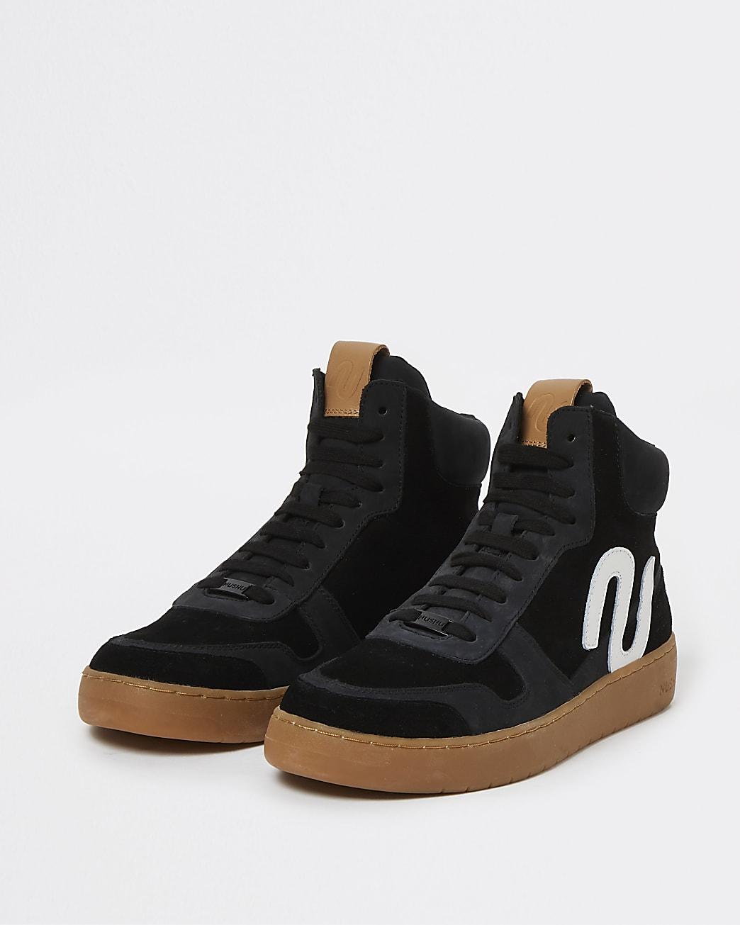 Nushu black 3D trim lace up high top trainers