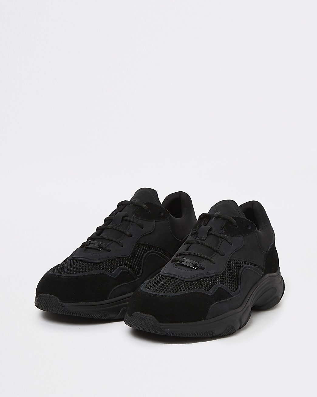 Nushu black 3D trim lace up runner trainers