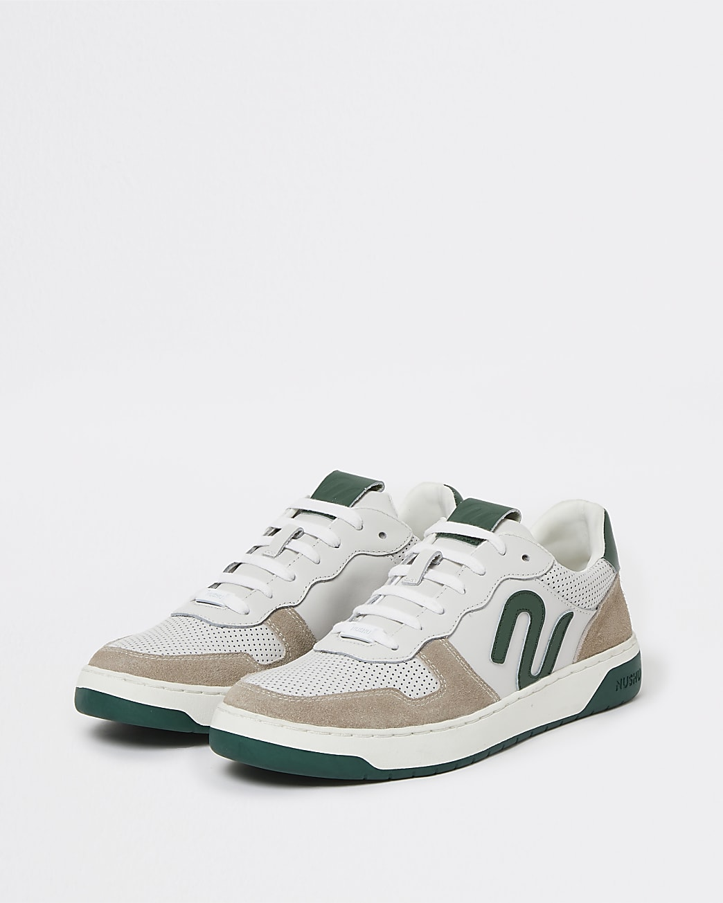 Nushu green 3d trim lace up court trainers