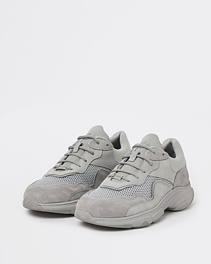 Nushu grey 3d trim lace up runner trainers