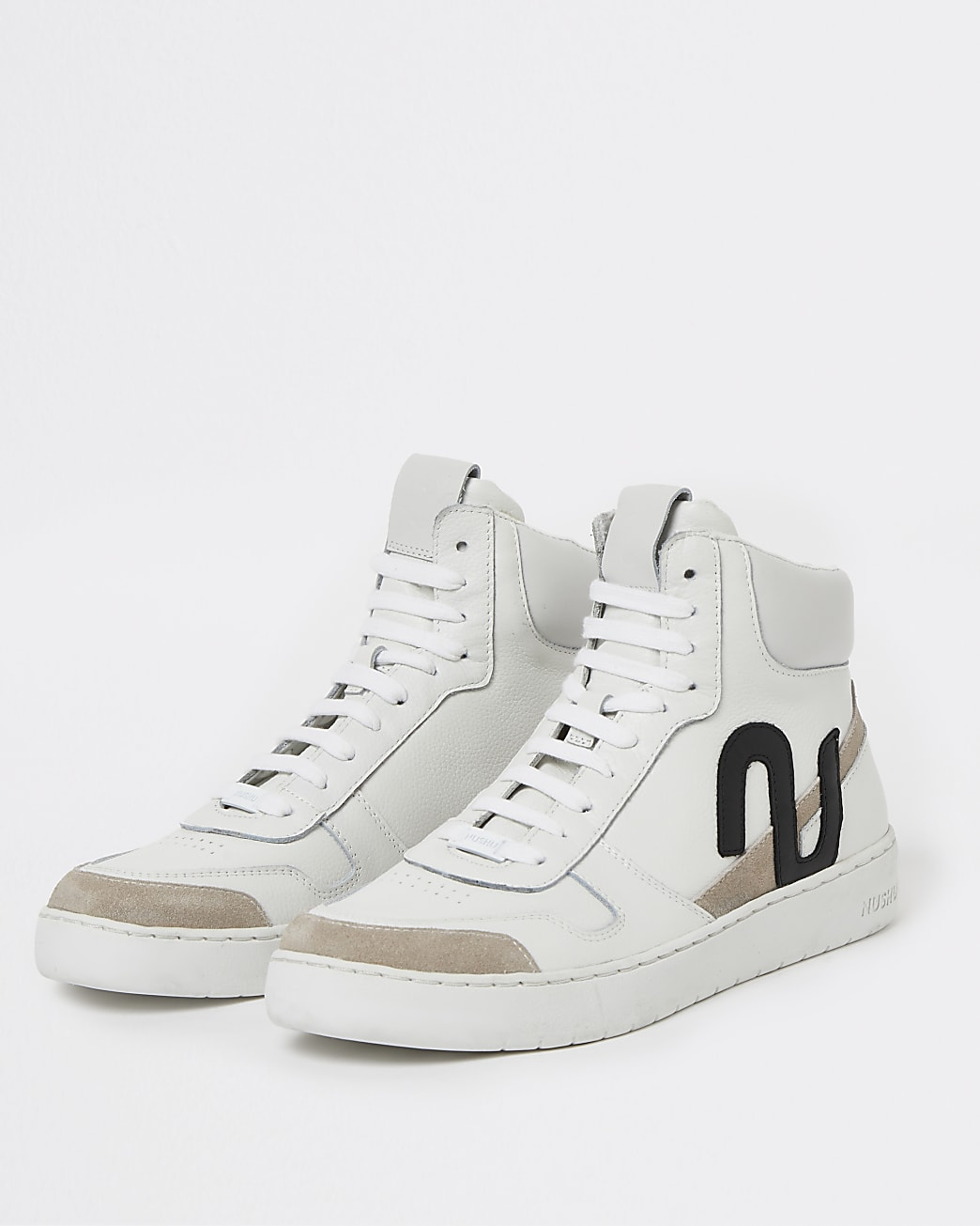 Nushu white 3d trim lace up high top trainers