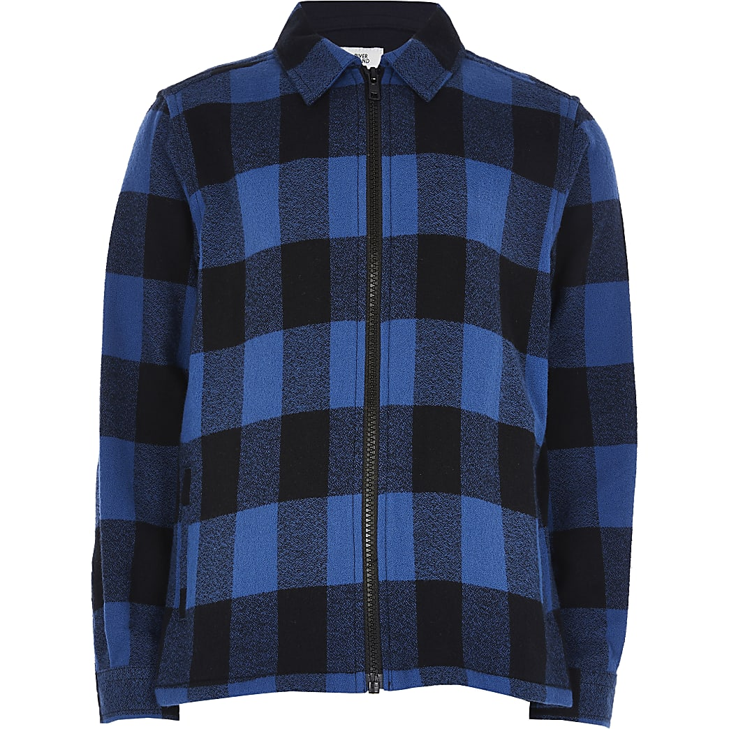 Older boys blue check print shacket