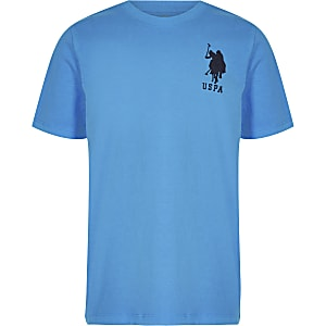 Older Boys blue USPA plain T-shirt
