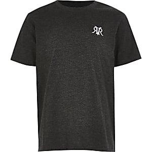 Donkergrijs gemêleerd multibuy-voordeel T-shirt met RVR-print voor jongens