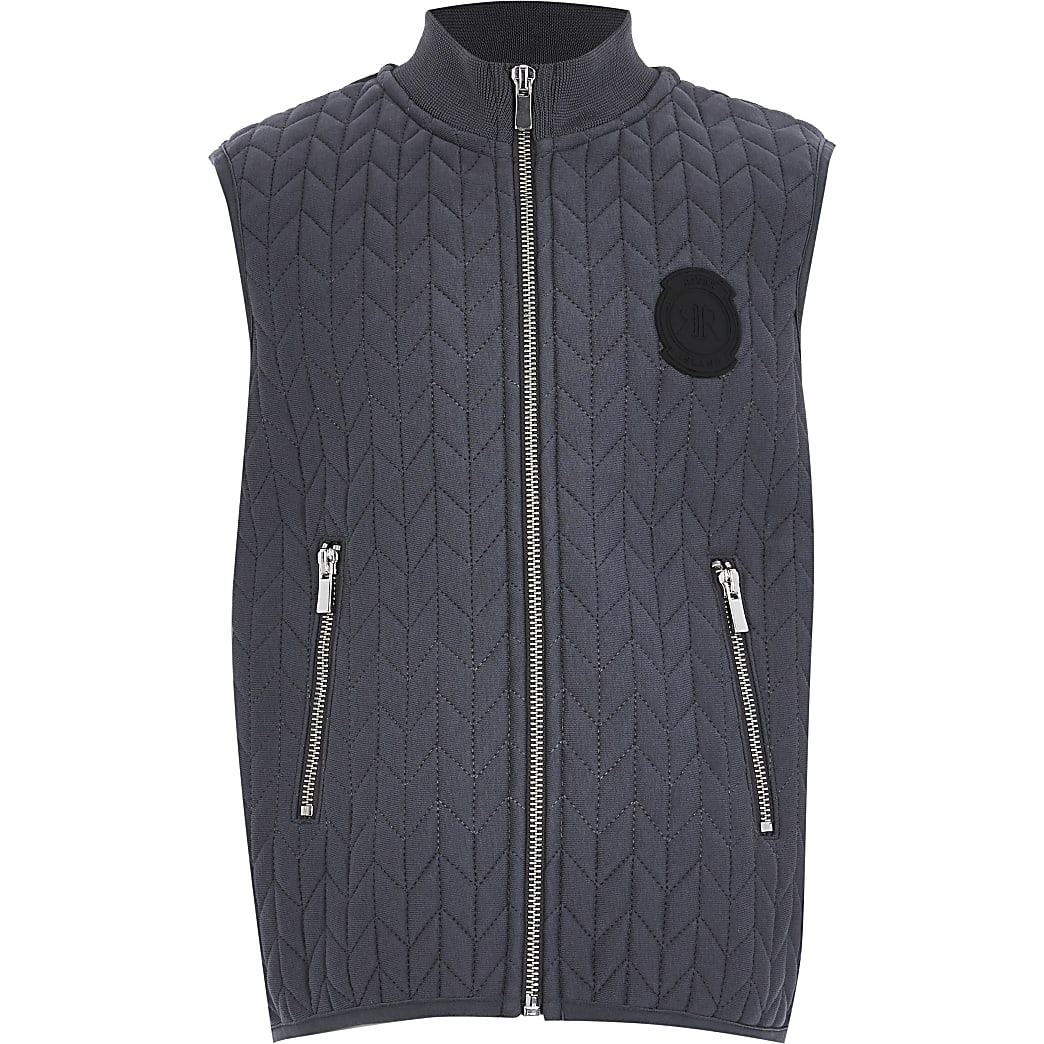 Older boys grey quilted jersey gilet