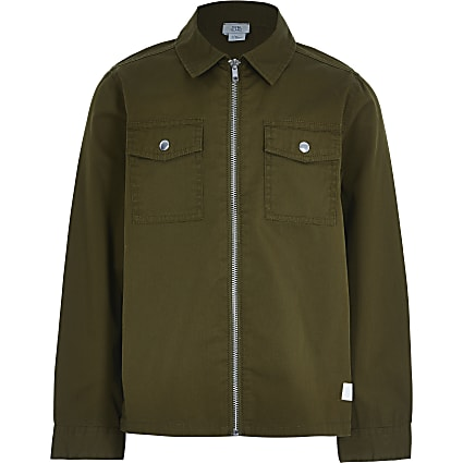 Older boys khaki zip through overshirt