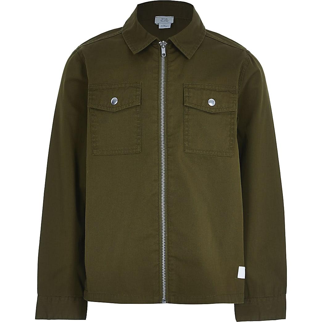 Older boys khaki zip through overshirt