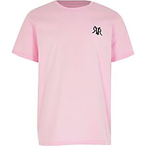 Lichtroze multibuy-voordeel T-shirt met RVR-print voor oudere jongens
