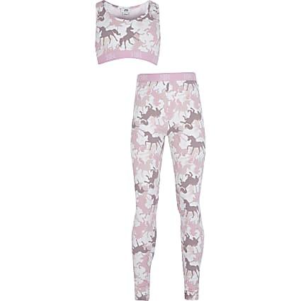 Older girls pink unicorn print legging set