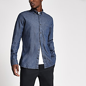 Only & Sons - Donkerblauw slim-fit denim overhemd