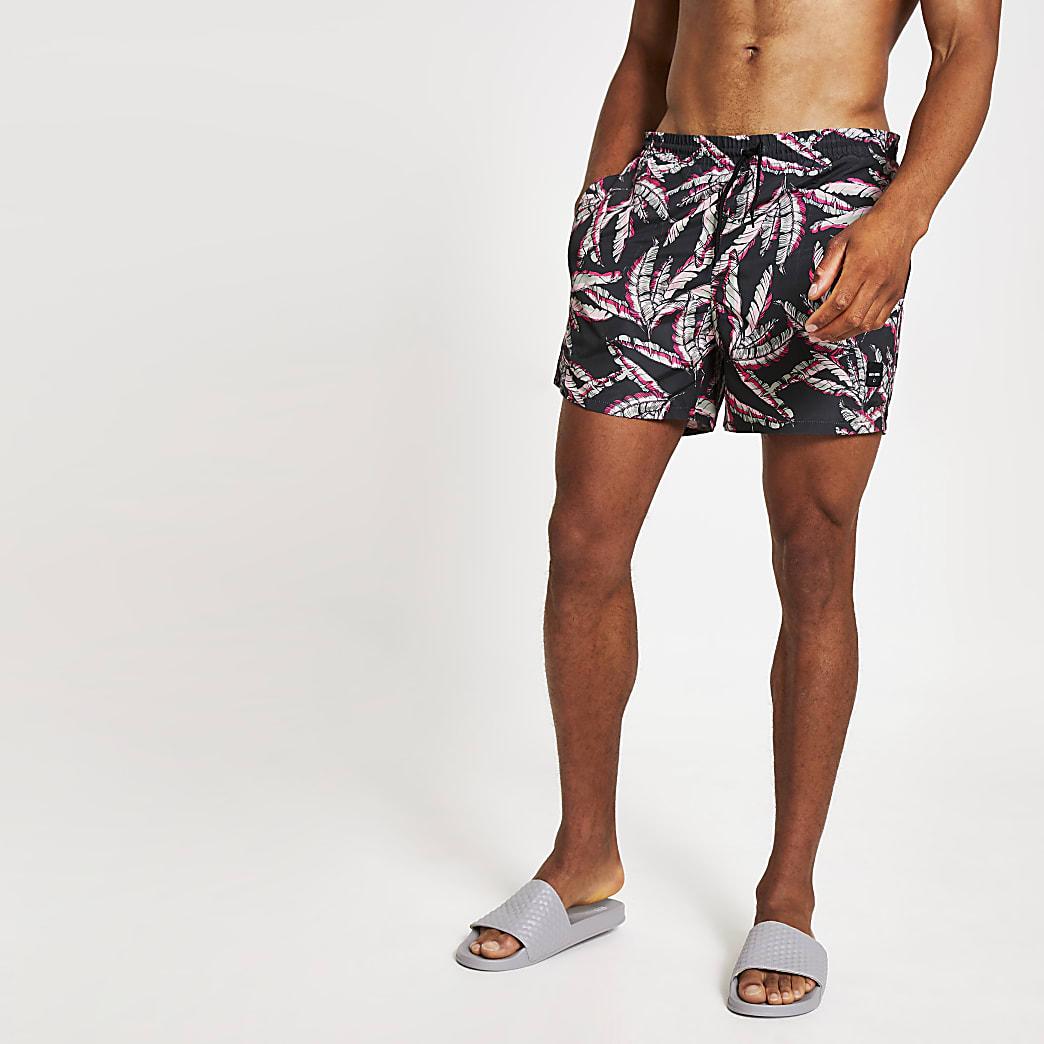 Only & Sons - Roze zwemshort met bladerprint