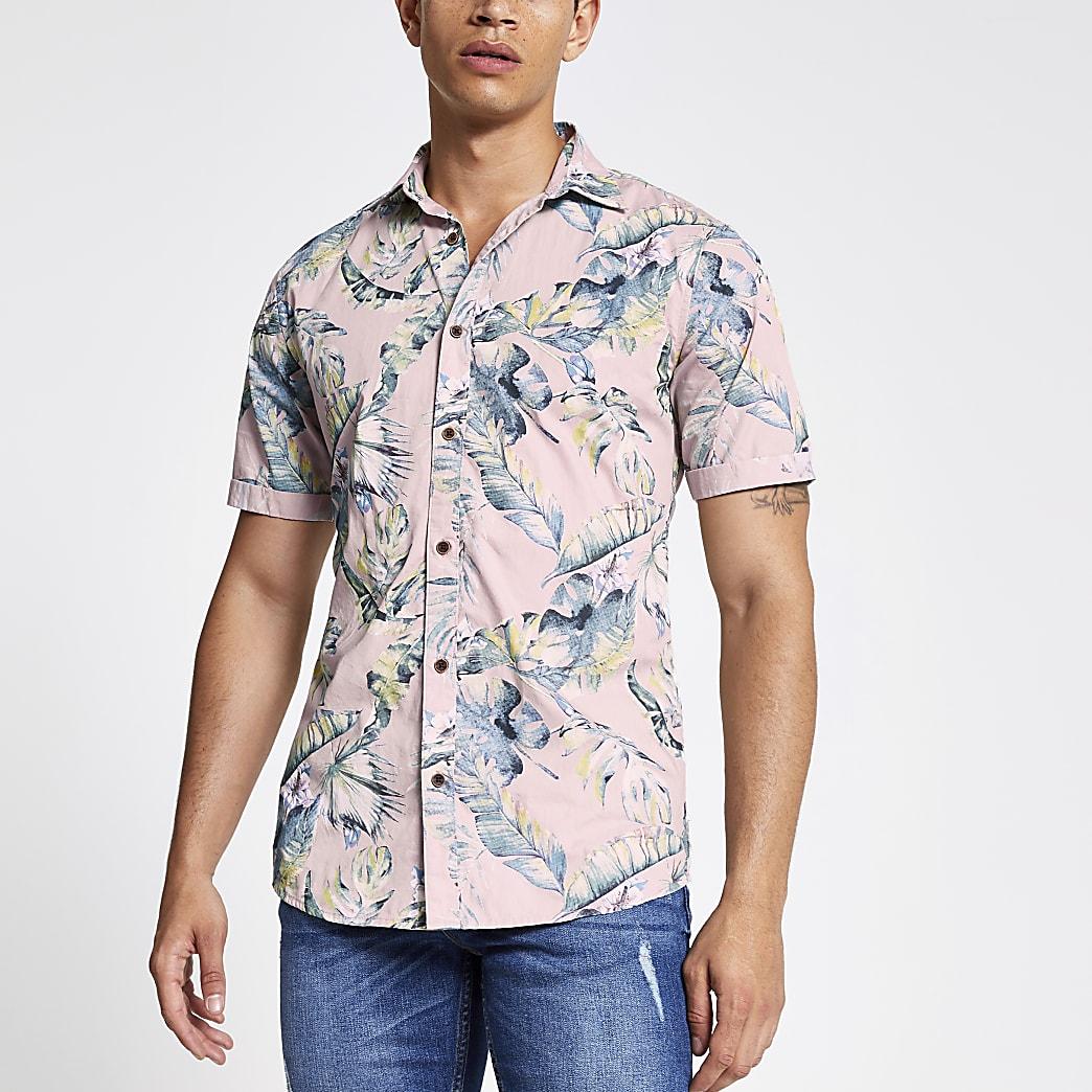 Only & Sons - Paars kort overhemd met bladprint