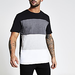 Only & Sons – Schwarzes T-Shirt in Blockfarben