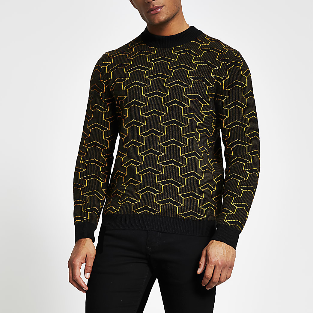 Only and Sons black printed knitted jumper