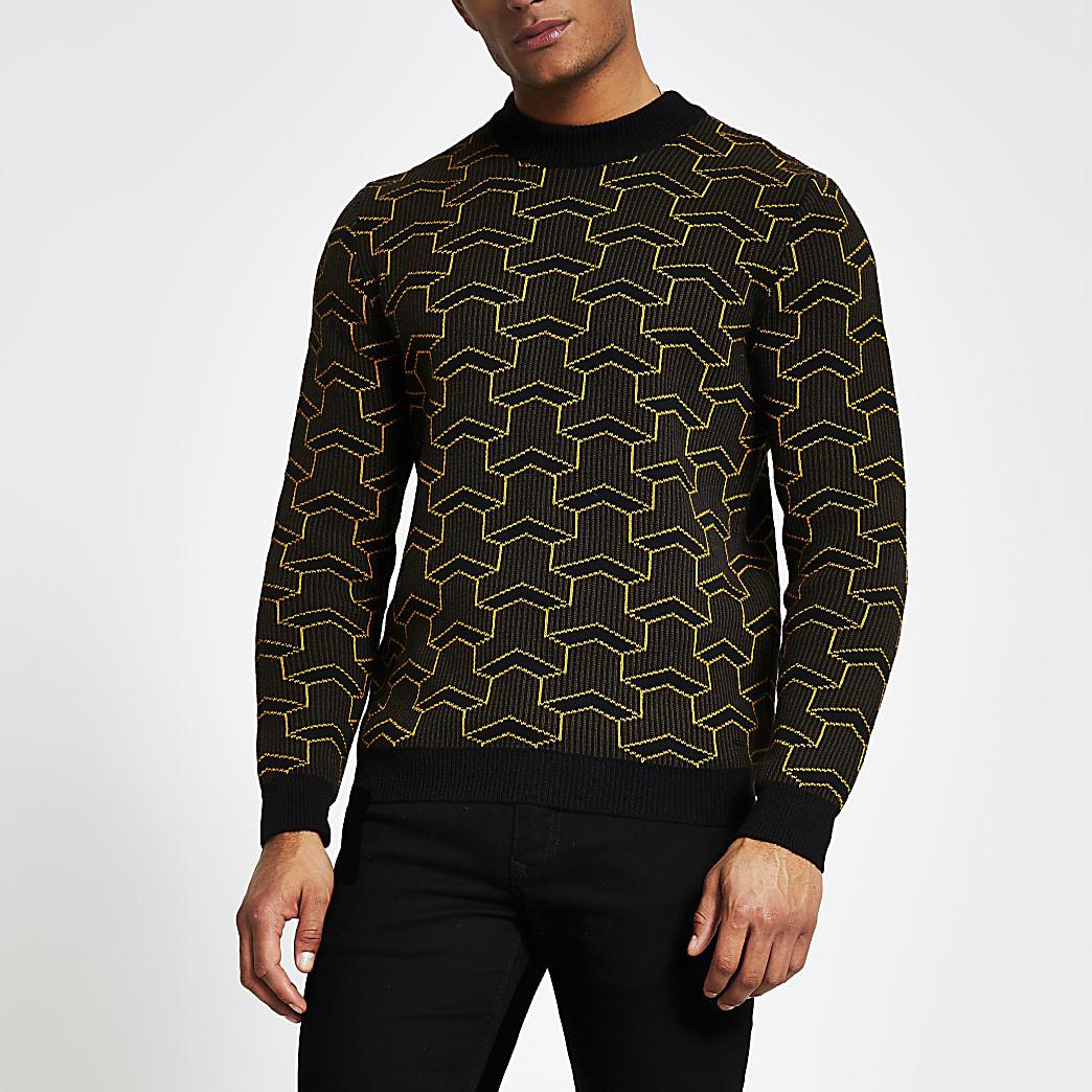 Only and Sons- Zwarte gebreide trui met print