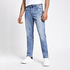 Only & Sons – Blaue Slim Fit Jeans im Used-Look