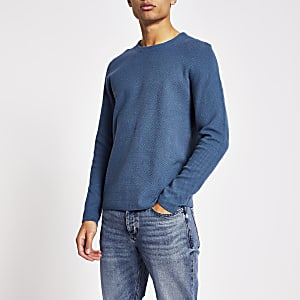 Only and Sons – Blauer, strukturierter Pullover
