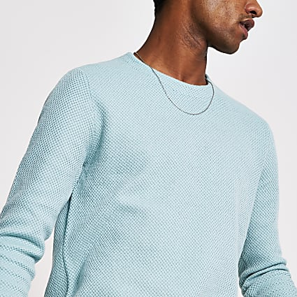 Only and Sons bright blue knitted sweatshirt