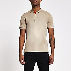 Only and Sons - Kiezelkleurige slim-fit polotop