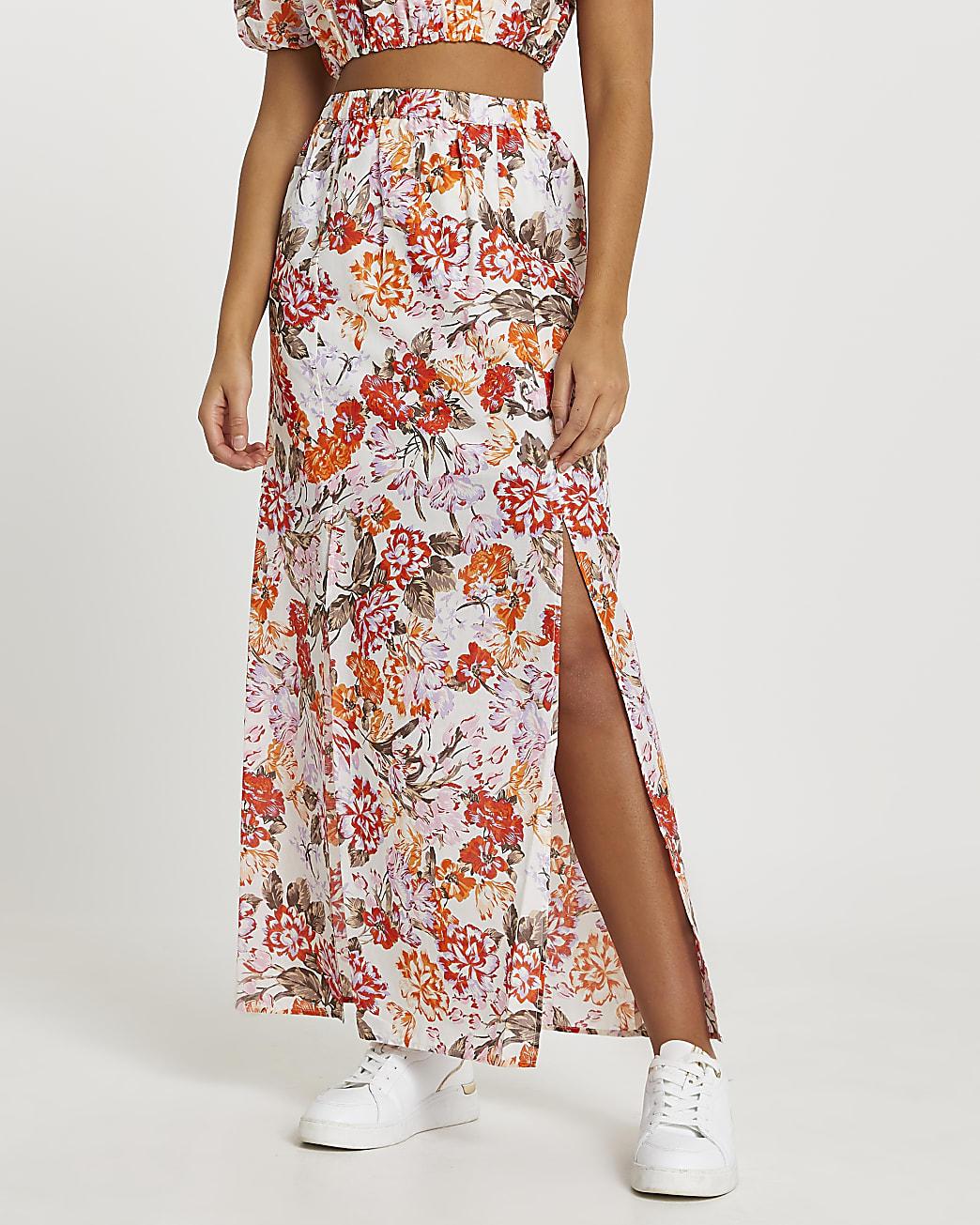Orange a line floral maxi skirt
