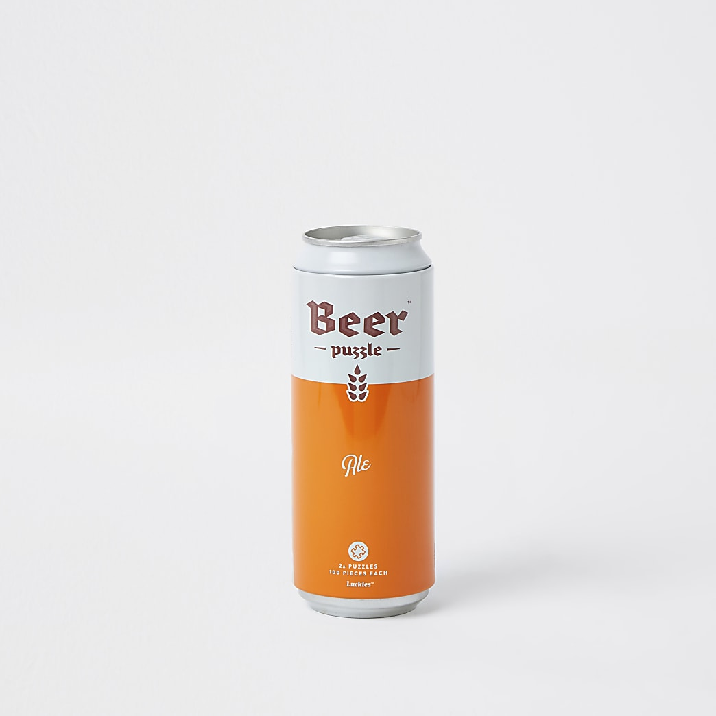 Orange ale beer puzzle in can