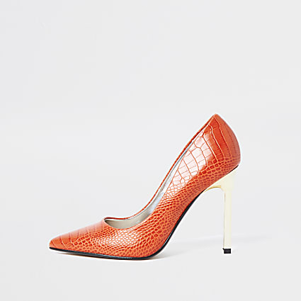 Orange animal embossed court heels