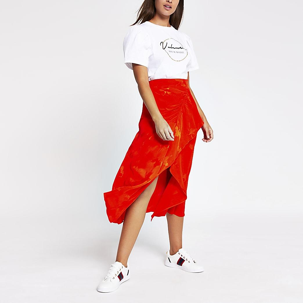 Orange asymmetric frill wrap midi skirt