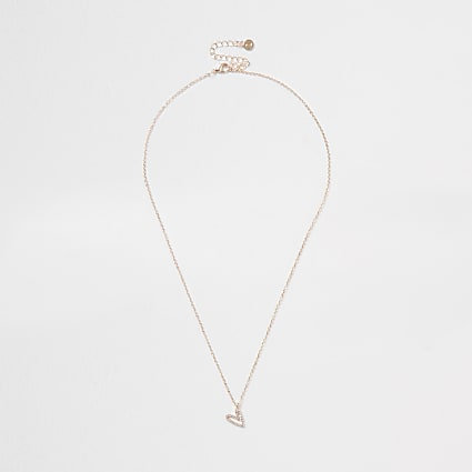 Orange asymmetric heart design short necklace
