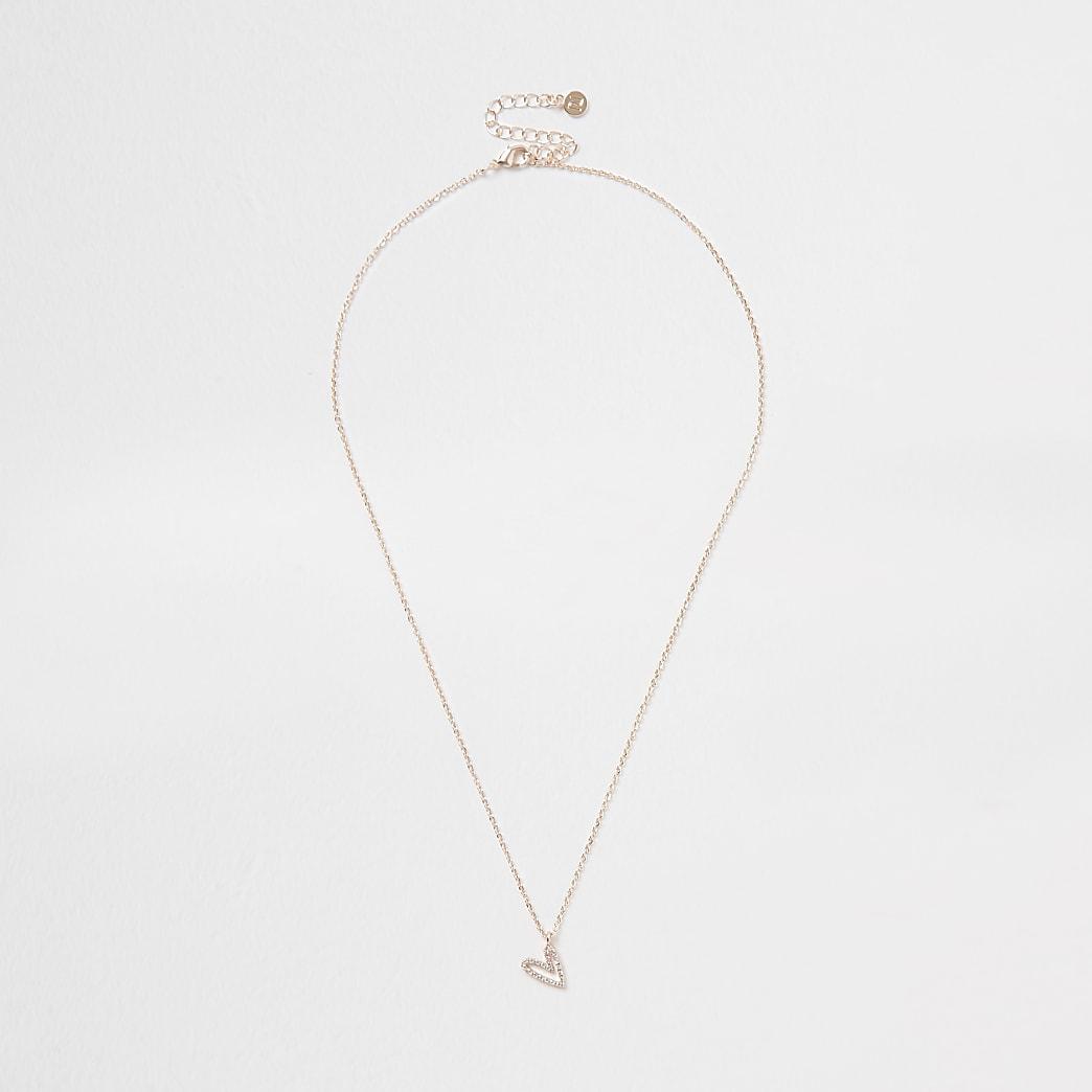Orange asymmetric heart design short necklace
