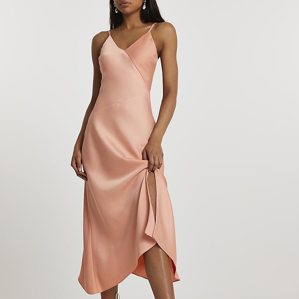 Orange asymmetric slip dress