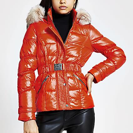 Orange belted faux fur hood padded jacket