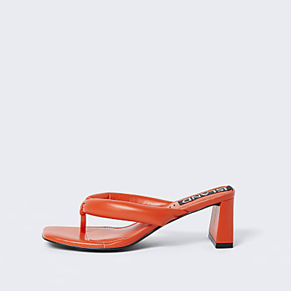 Orange block heel sandal