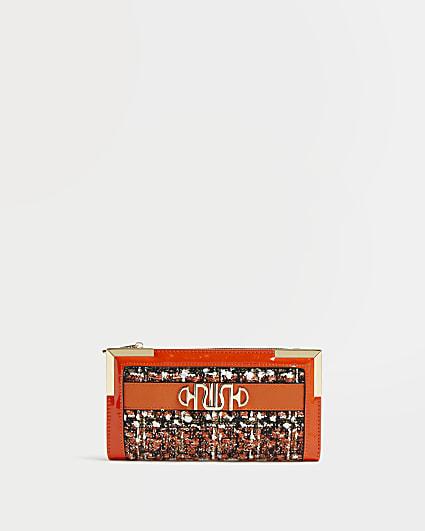 Orange boucle purse