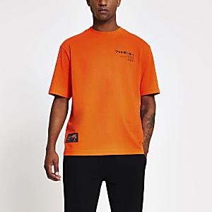 T-shirt droit orange imprimé oriental japonais