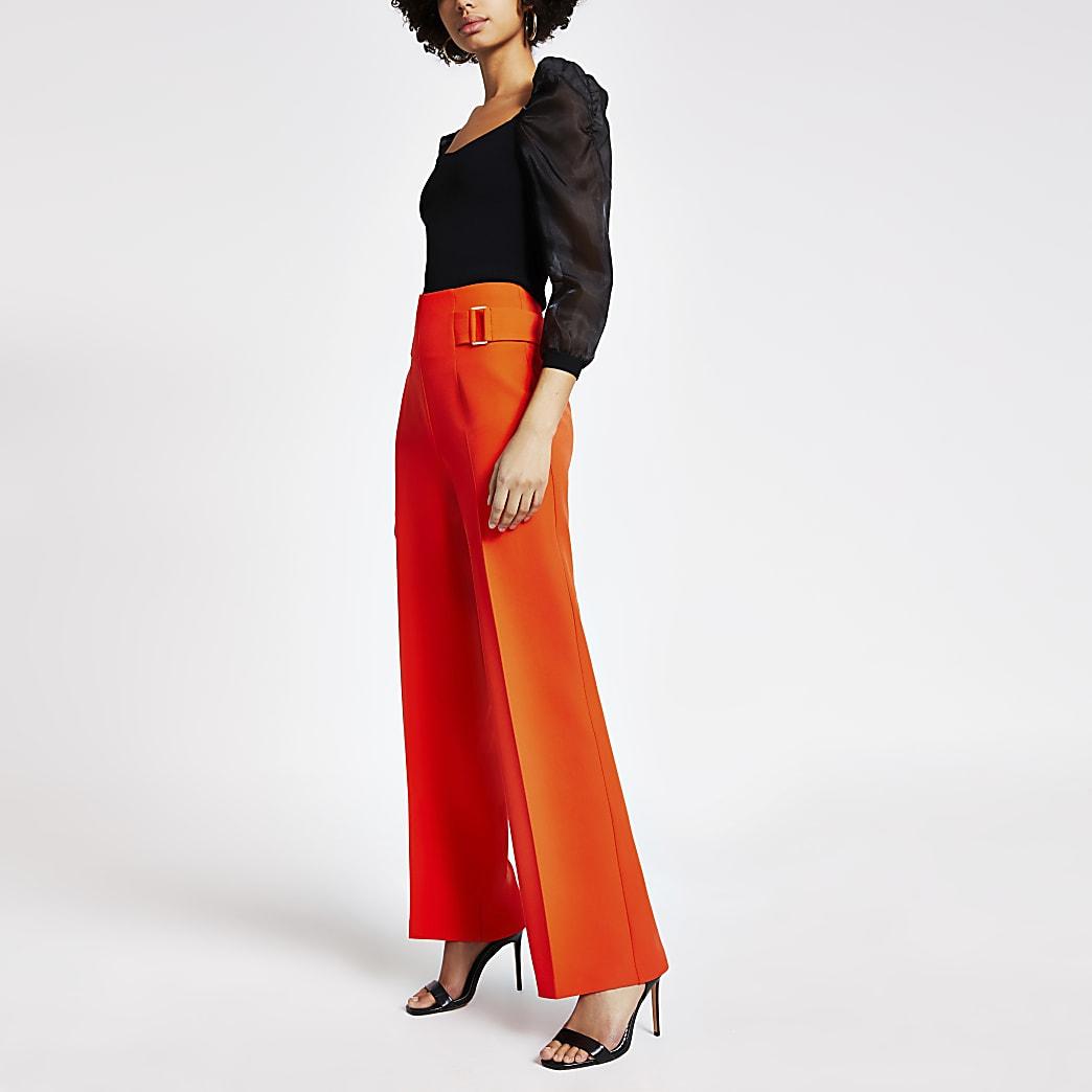 Orange Hose mit weitem Beinschnitt und Taillenschnalle