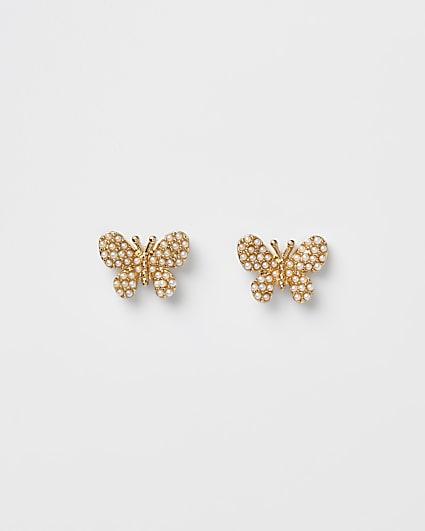 Orange butterfly stud earrings