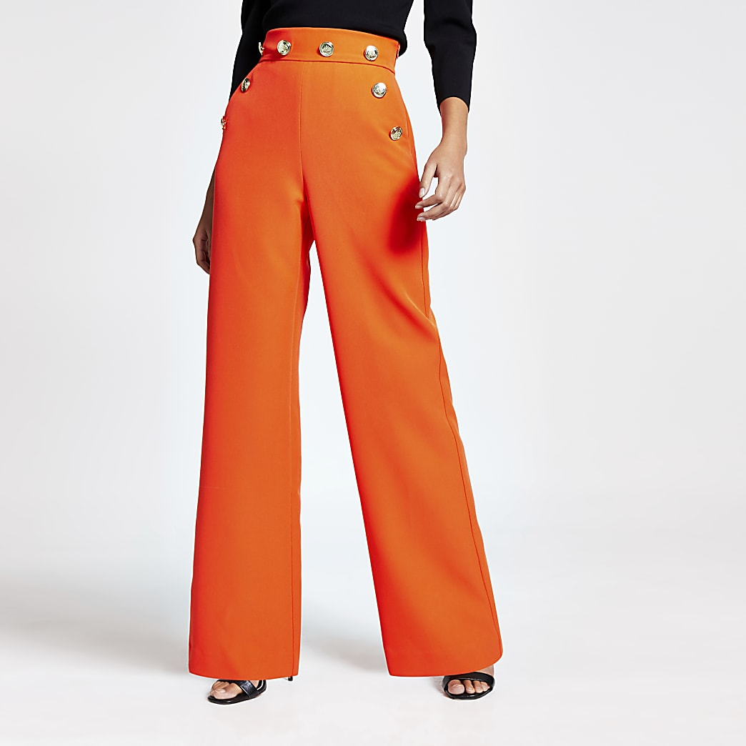 Orange button high waist wide leg trousers