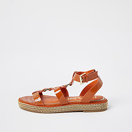 Orange chain double strap flatform sandals