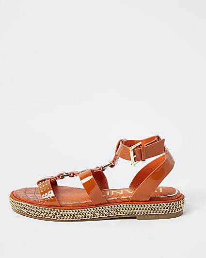 Orange chain double strap flatform sandals