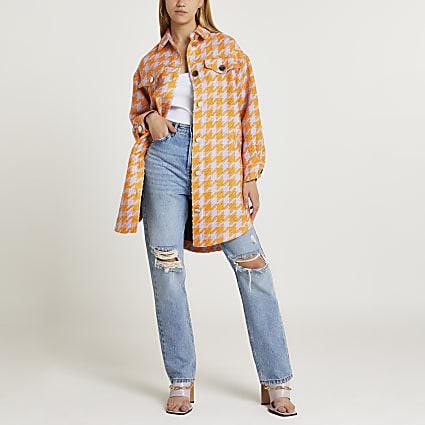Orange check overshirt