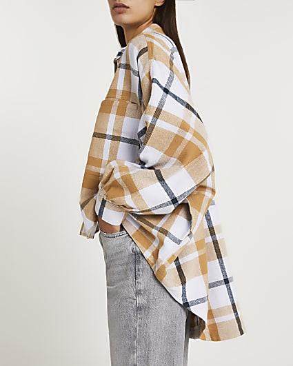 Orange check oversized batwing shirt