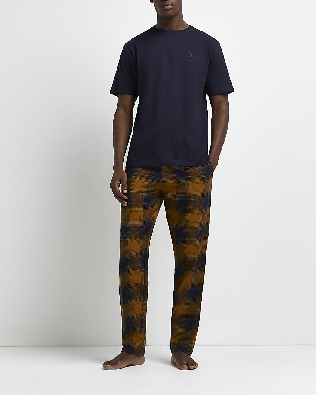 Orange check print jogger pyjama set