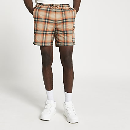 Orange check print skinny fit shorts