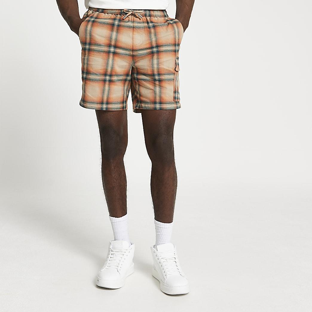Orange check print skinny fit shorts