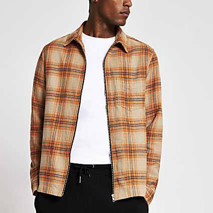 Orange Check zip front overshirt jacket