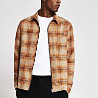 Orange Check zip front shacket
