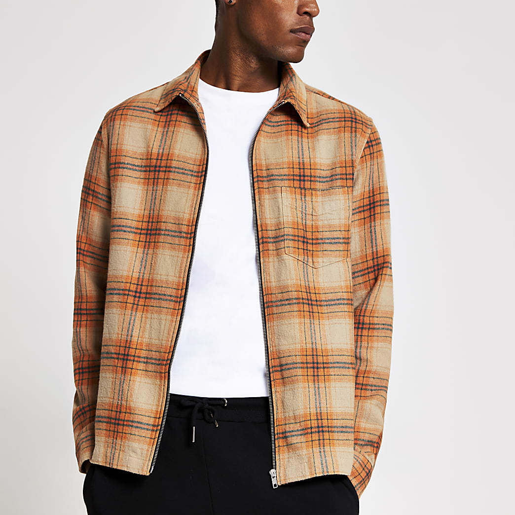Orange Check zip front shacket