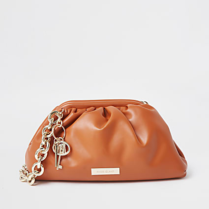 Orange chunky chain ruched handbag