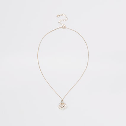 Orange colour short diamante necklace
