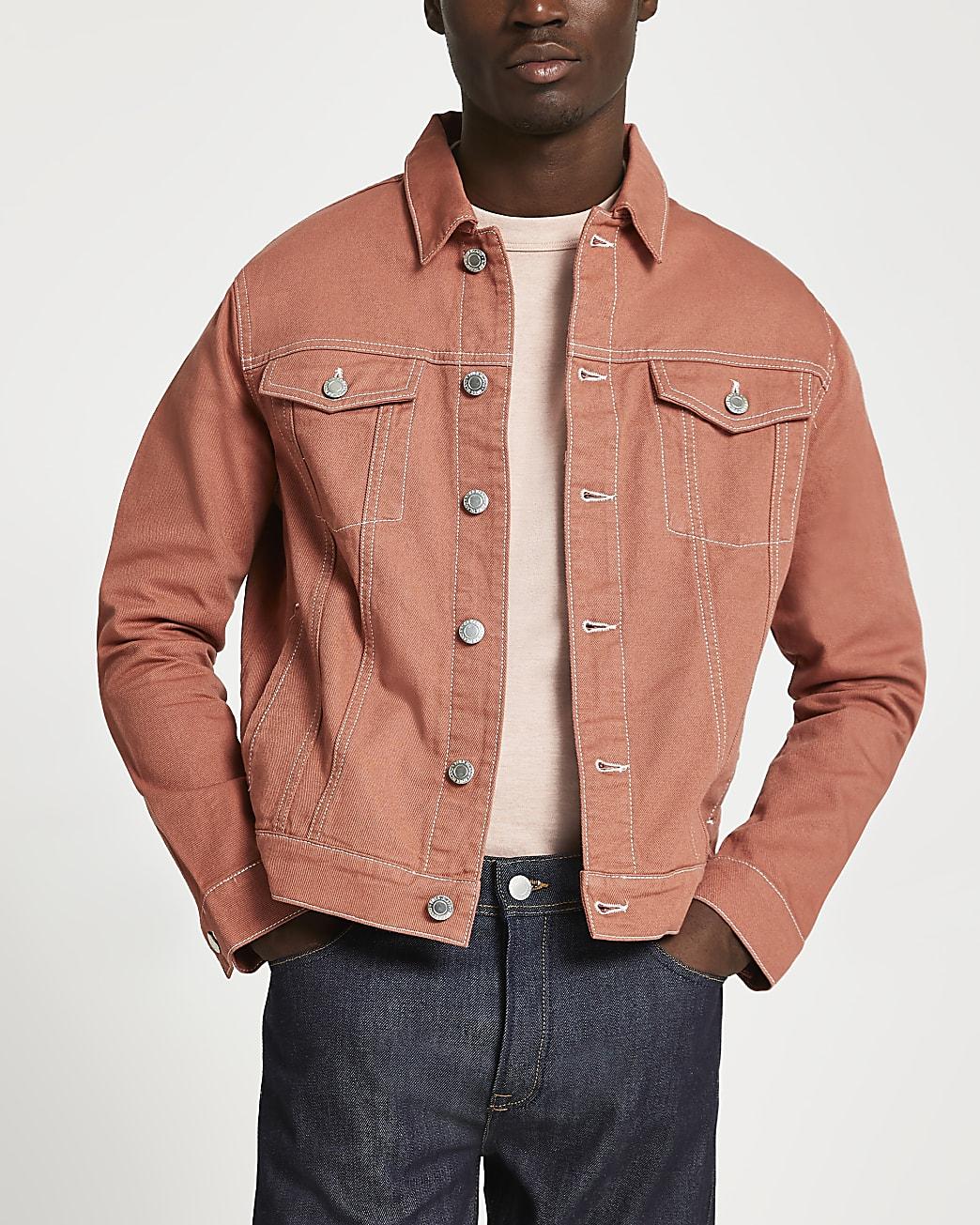 Orange contrast stitch denim jacket